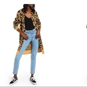 BP Long Leopard Cardigan XS